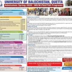 University of Balochistan MS, MPhil & PhD Admission 2020