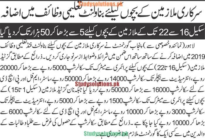 Govt Has Increased Scholarship Amount of Punjab Benevolent Fund Scholarships 2021