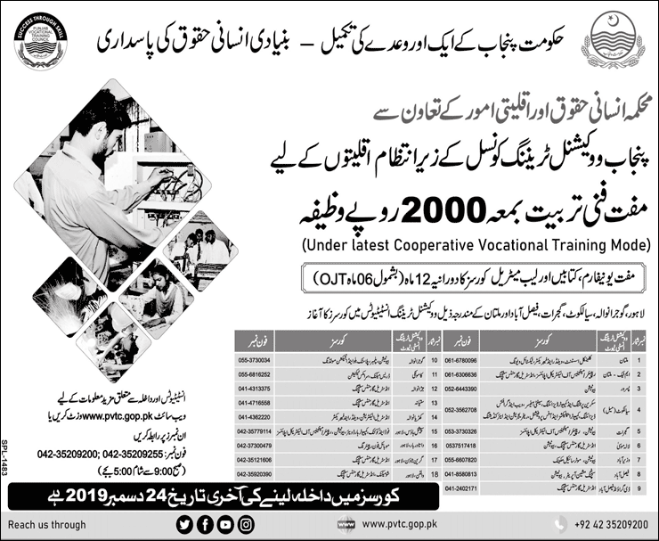 PVTC Free Vocational Training Courses For Minority Students of Punjab 2020