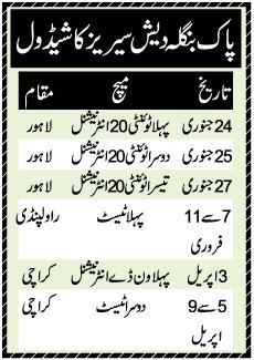 Pakistan Vs Bangladesh Cricket Series 2020 Schedule (Urdu-English)