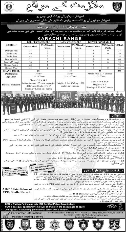 Sindh Police Jobs 2021, Male & Female SSU Commando & Constable Driver