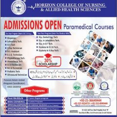 Horizon College of Nursing & Allied Health Sciences Karachi Admission 2020