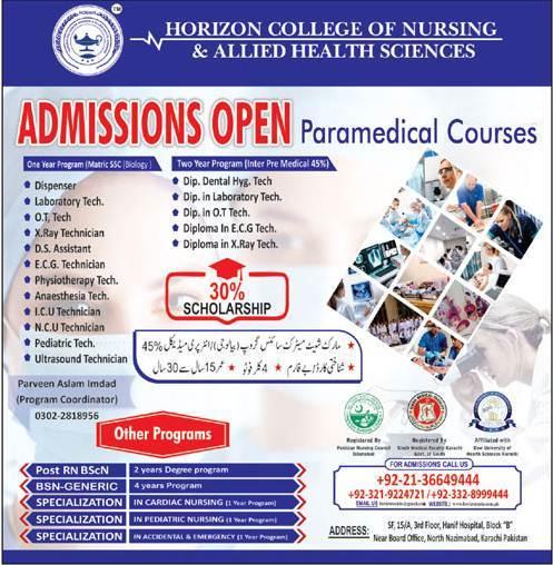 Horizon College of Nursing & Allied Health Sciences Karachi Admission 2020