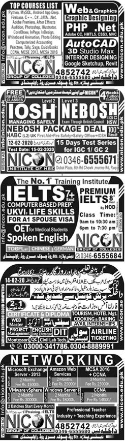 Nicon Group of Colleges Rawalpindi Admission 2020, Courses, Campuses, Fee
