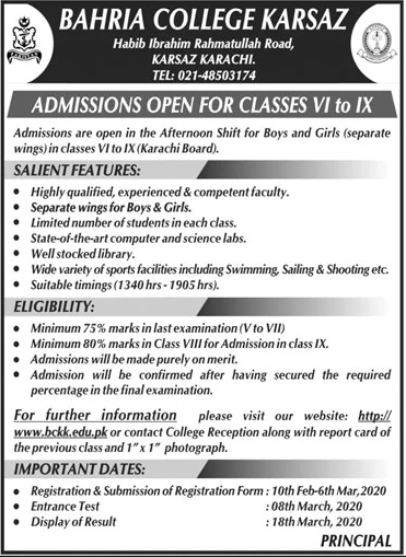 Bahria College Karsaz Admission 2020 in Class 6th to 9th, Form & Test Result