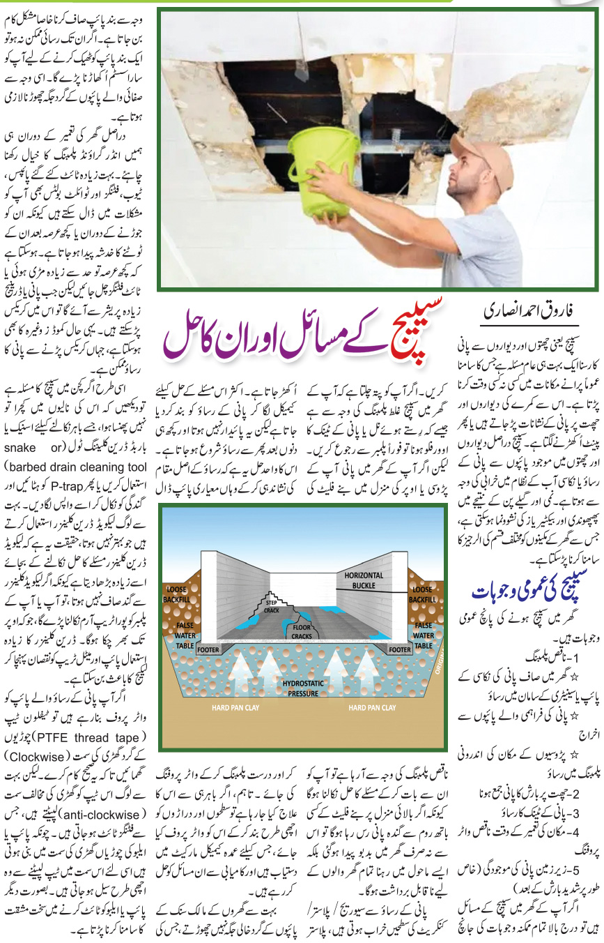 Solutions For Water Seepage Problem, Repair Tips in Urdu & English
