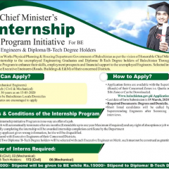 CM Balochistan Internship Program 2020 for BE Engineers & Diploma Holder