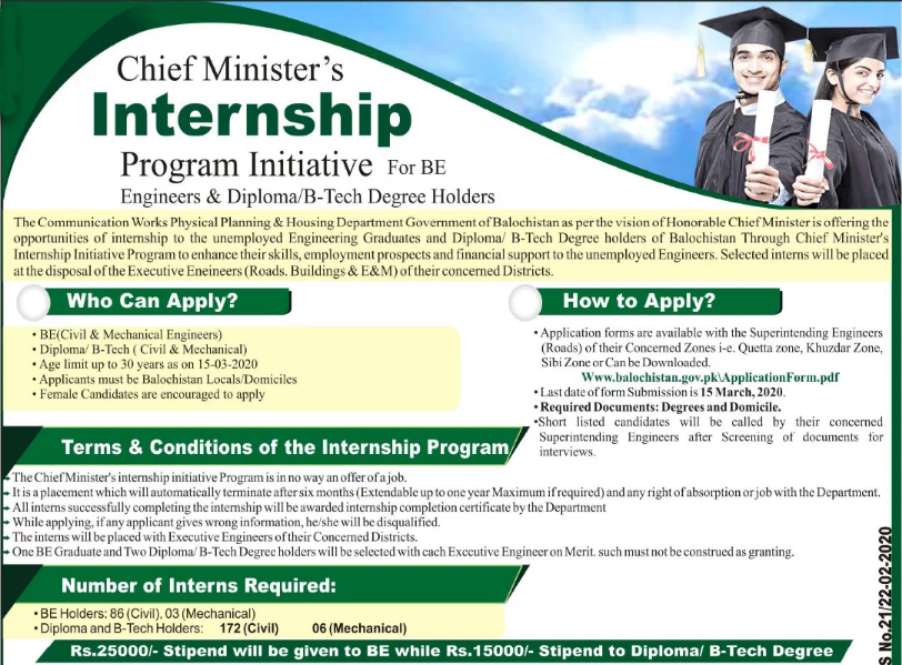 CM Balochistan Internship program 2020 for BE Engineers & Diploma Holder
