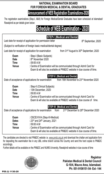 PMDC NEB Exam Registration 2020 Schedule For Foreign MBBS & BDS Doctors