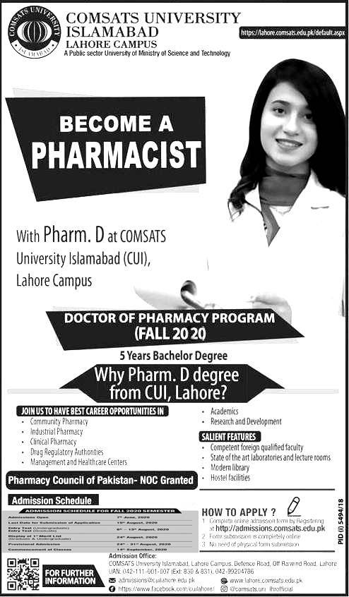 Comsats University CUI Lahore Campus Admission 2020 in Pharm.D, Apply Online