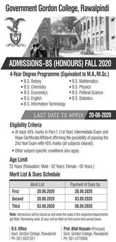 Government Gordon College Rawalpindi Admission 2020 in BS, Form, Merit Lists