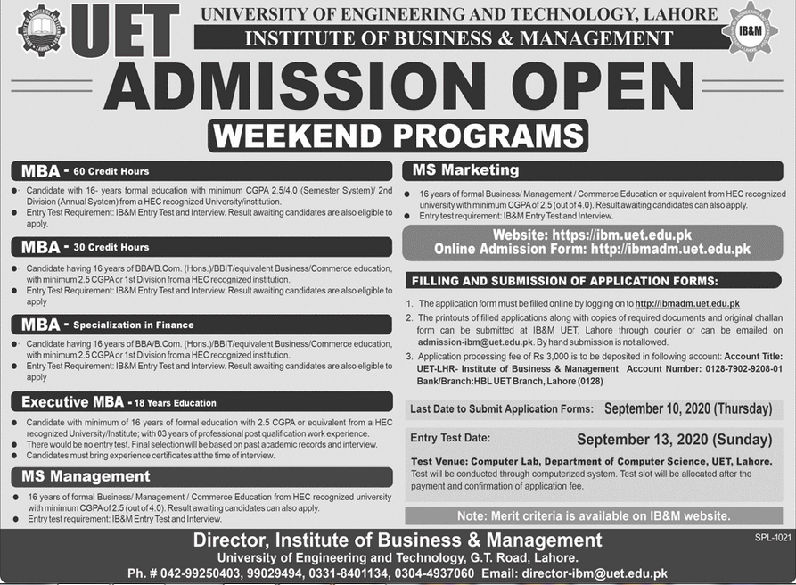IB&M UET Lahore MBA, BBA, BBIT, MS & MBA Executive Admission 2020, Apply Online