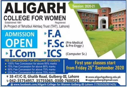 Aligarh College For Women Lahore 1st Year Admission 2020 (FA, FSc, ICS, ICom)