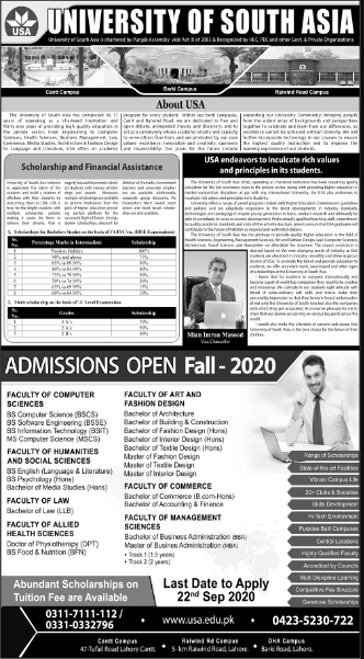 University of South Asia USA Admission 2020, Programs, Scholarships