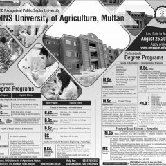 MNS University of Agriculture Multan Admission 2020 in FSc Pre Agriculture