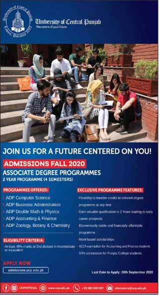 University of Central Punjab Admission 2020 in Associate Degree Programs (ADP)