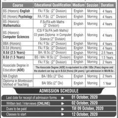 Bilquis Postgraduate College for Women PAF Base Nur Khan Admission 2020