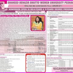 SBBWU Peshawar Undergraduate Admission 2020 in 4 & 5 Years BS Programs