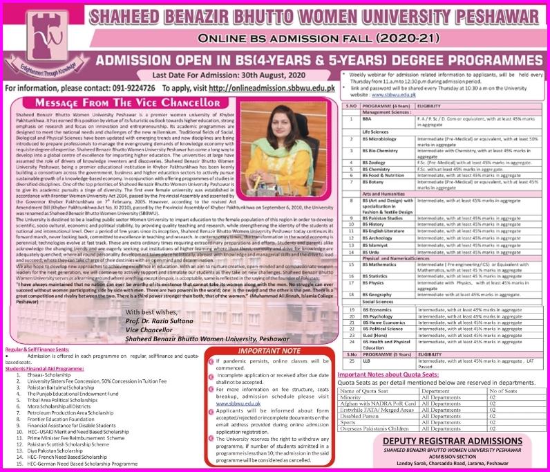 SBBWU Peshawar Undergraduate Admission 2020 in 4 & 5 Years BS Programs