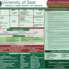 University of Swat UoS Undergraduate Admission 2020 Schedule, Apply Online