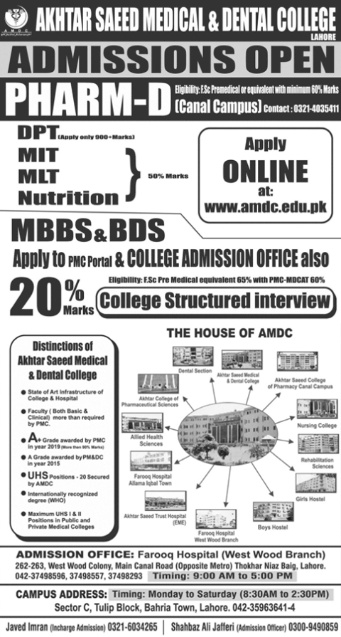 Akhtar Saeed Medical & Dental College Lahore Admission 2021