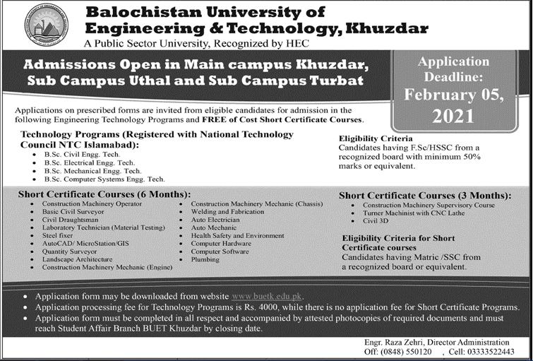 Balochistan University of Engineering & Technology Khuzdar Admission 2021