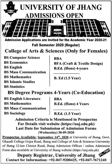 University of Jhang Admission 2020 in BS, BBA & BEd (Morning)