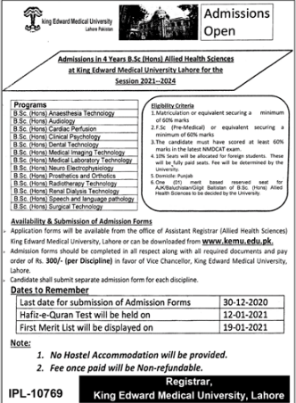 KEMU BSc Hons in Allied Health Sciences & DPT Admission 2021