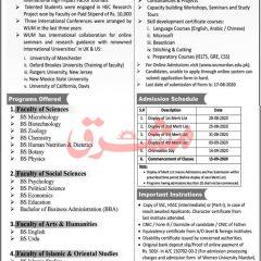Women University Mardan Undergraduate Admission 2020, Merit Lists