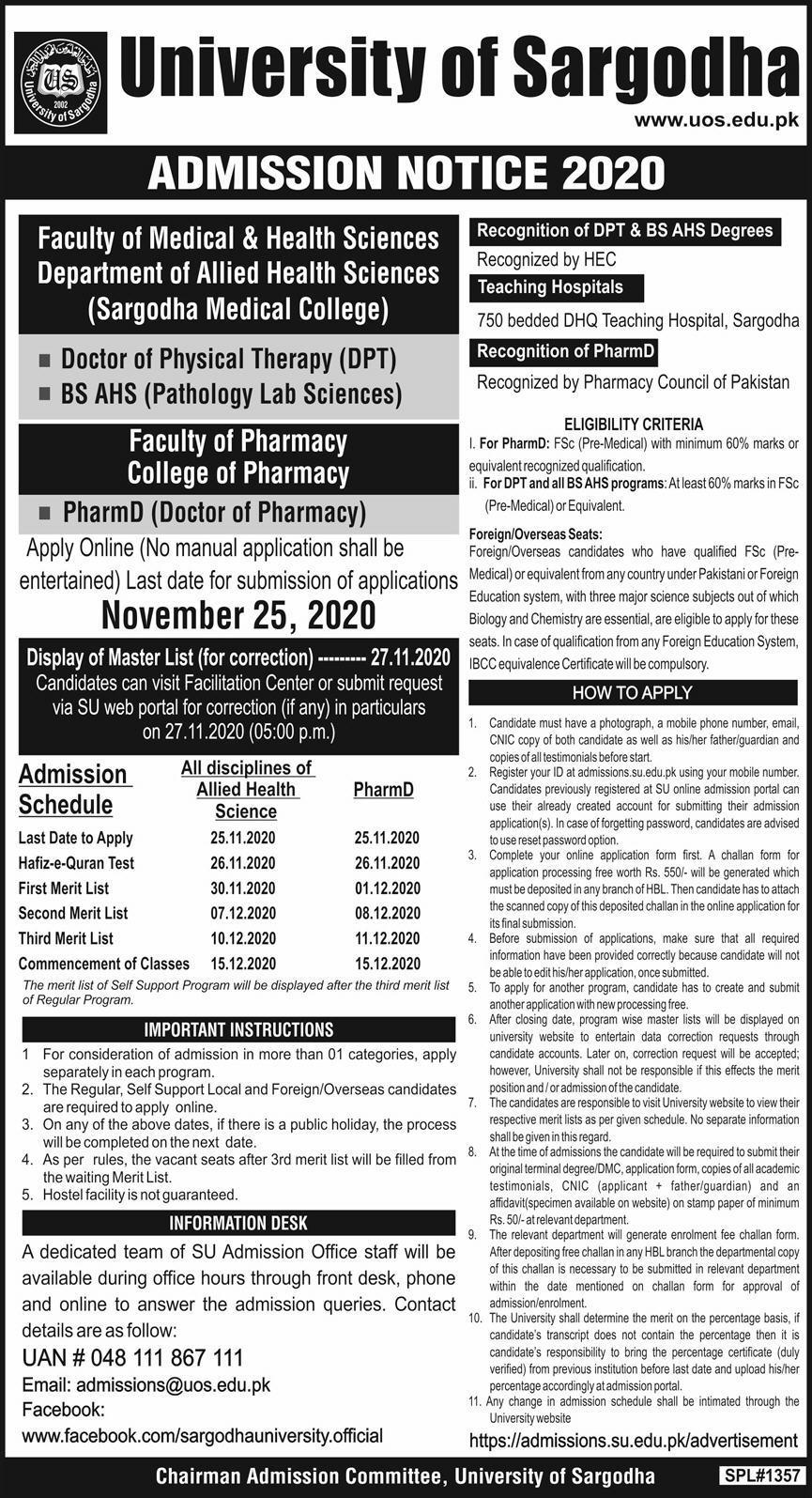 University of Sargodha DPT, BS AHS & Pharm-D Admission 2020