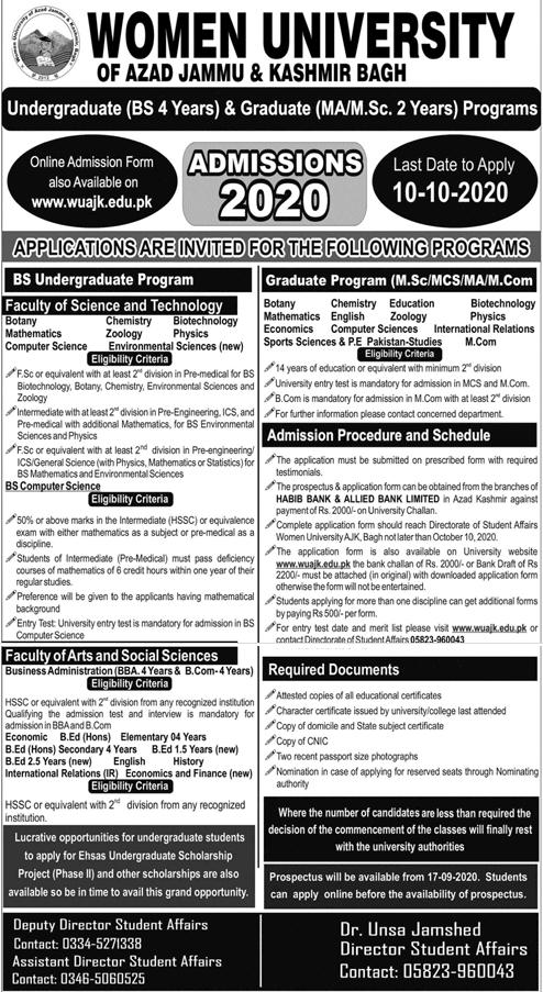 Women University of Azad Jammu & Kashmir Bagh Admission 2020