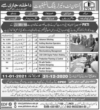 PKTI Lahore Admission 2021 in Free Short Courses with Monthly Stipend