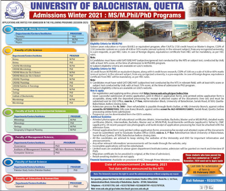 University of Balochistan MS, MPhil & PhD Admission 2021