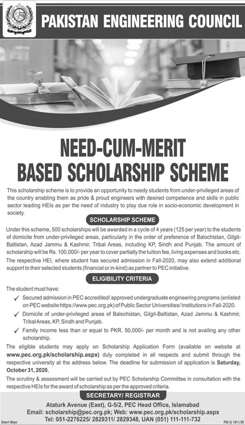 Pakistan Engineering Council Need Cum Merit Based Scholarship Scheme 2020