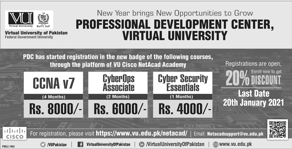 Virtual University & Cisco Network Academy Admission 2021 in Short Courses