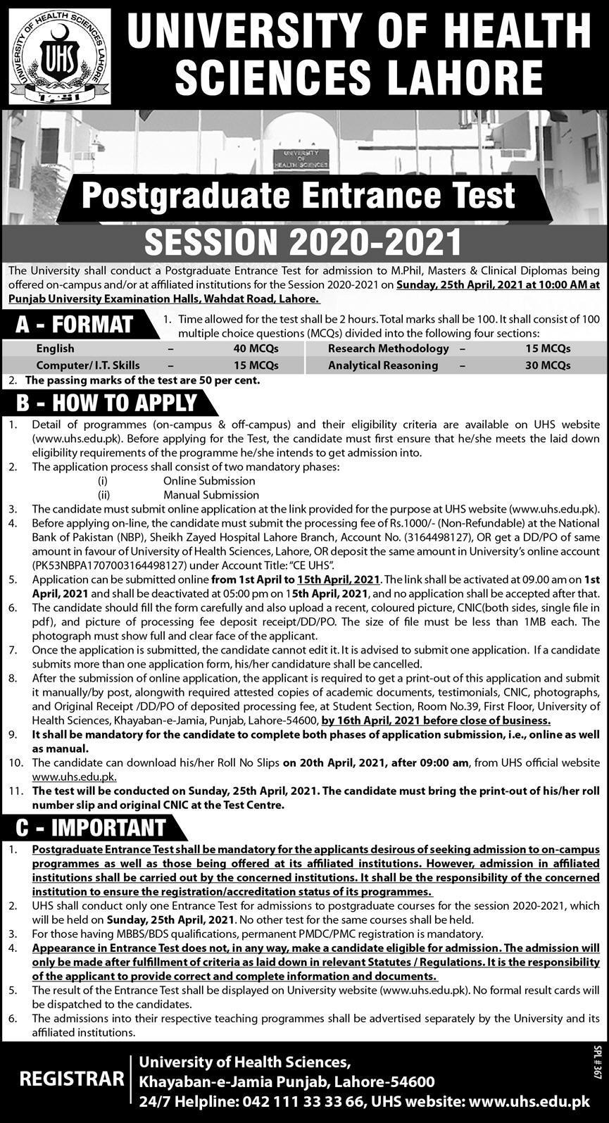 University of Health Sciences LahorePostgraduate Entry Test 2021