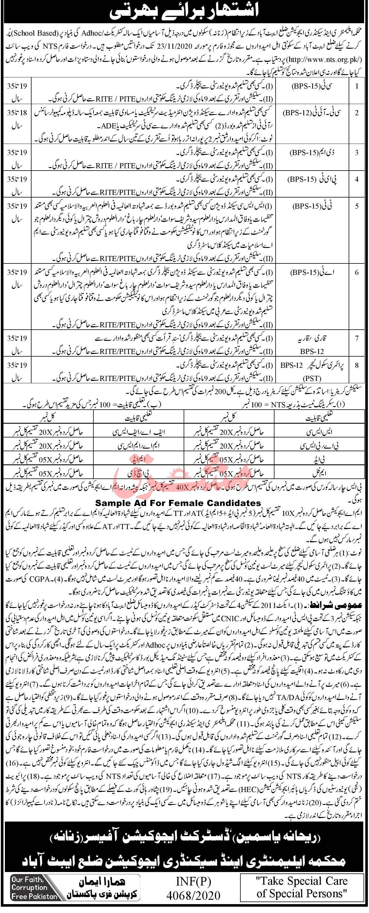 Latest CT, CT IT,DM, PET, ET. Qari, PST, AT, TT Jobs 2020 in Kpk For Females