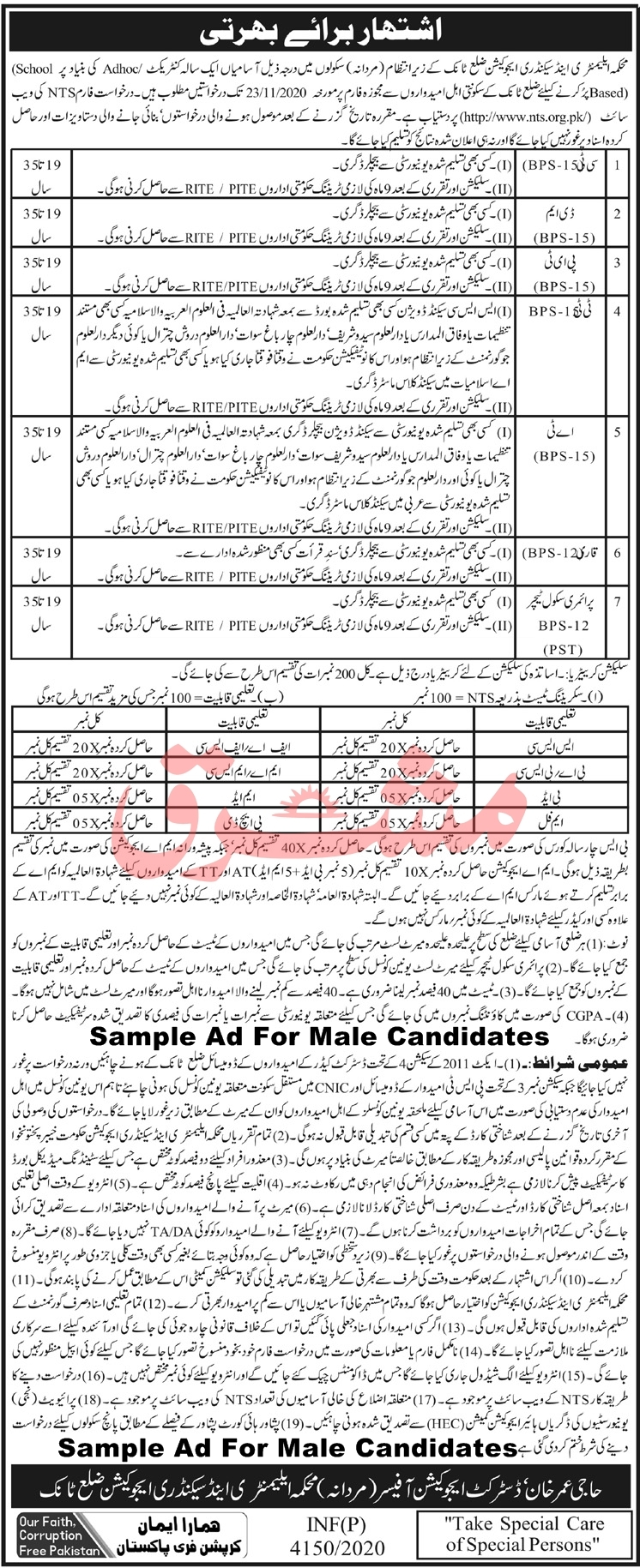 Sample Ad For Male Candidates