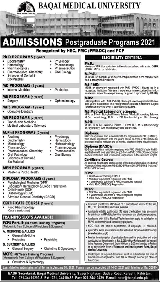 Baqai Medical University Karachi PG Admission 2021