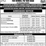 Bilquis Postgraduate College for Women PAF Base Nur Khan Admission 2021