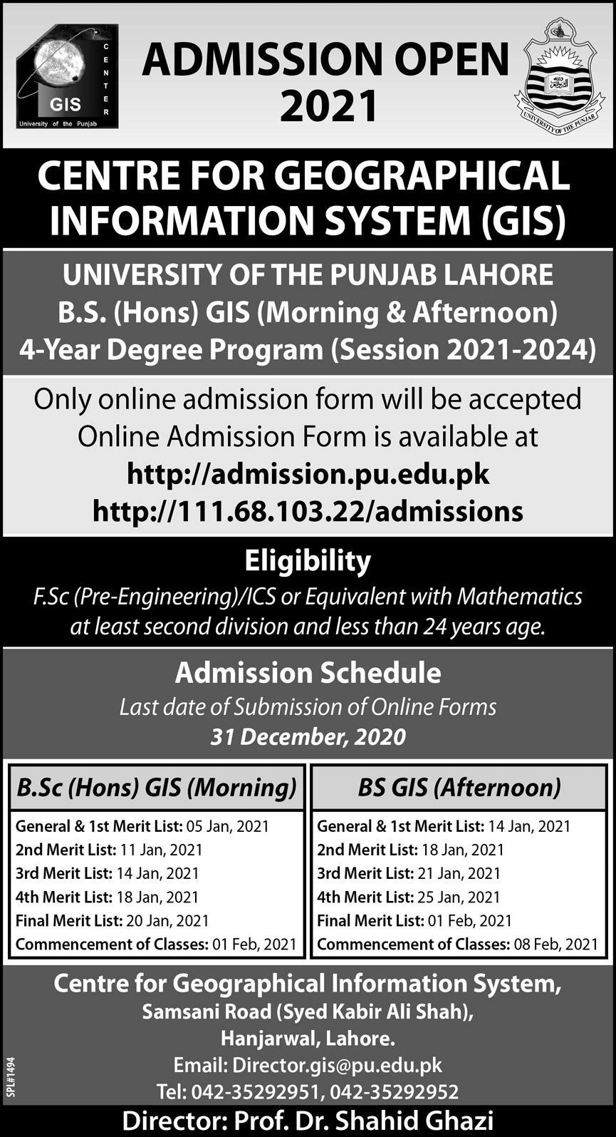 PU Lahore Centre For Geographical Information System Admission 2021