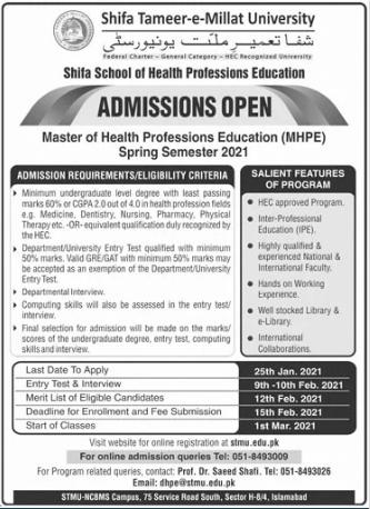 Shifa Tameer e Millat University Islamabad MHPE Admission 2021