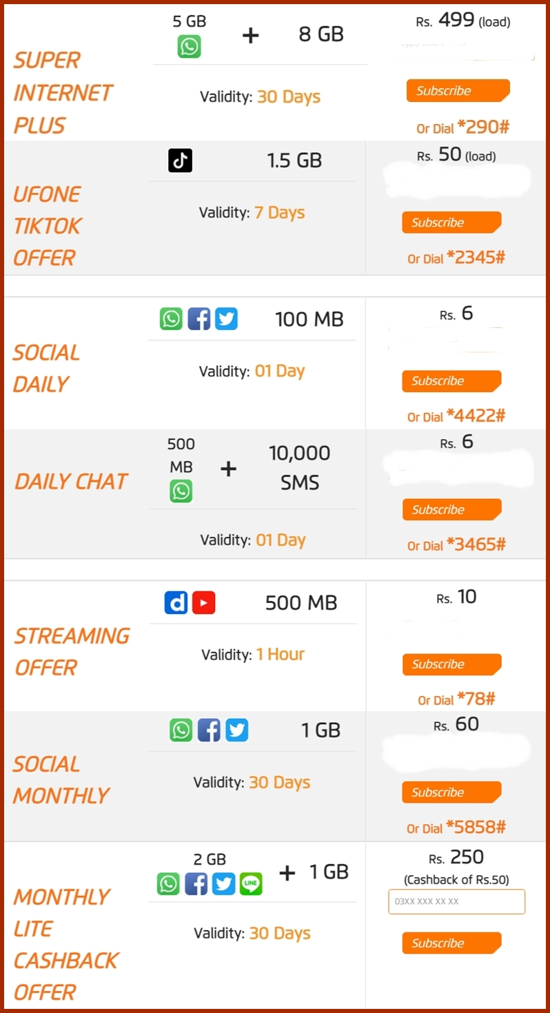 Ufone Internet Packages 2021 3G & 4G
