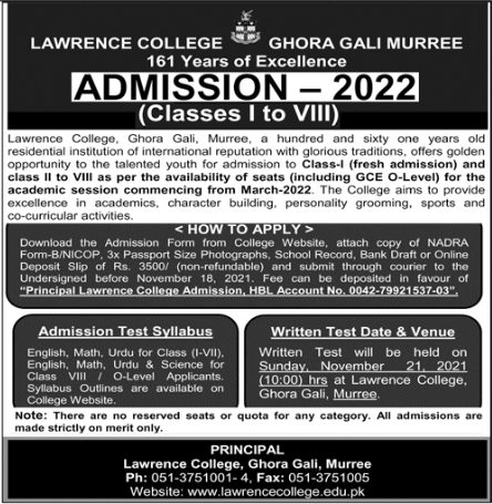 Lawrence College Ghora Gali Murree 8th Class Admission 2022, Entry Test Result