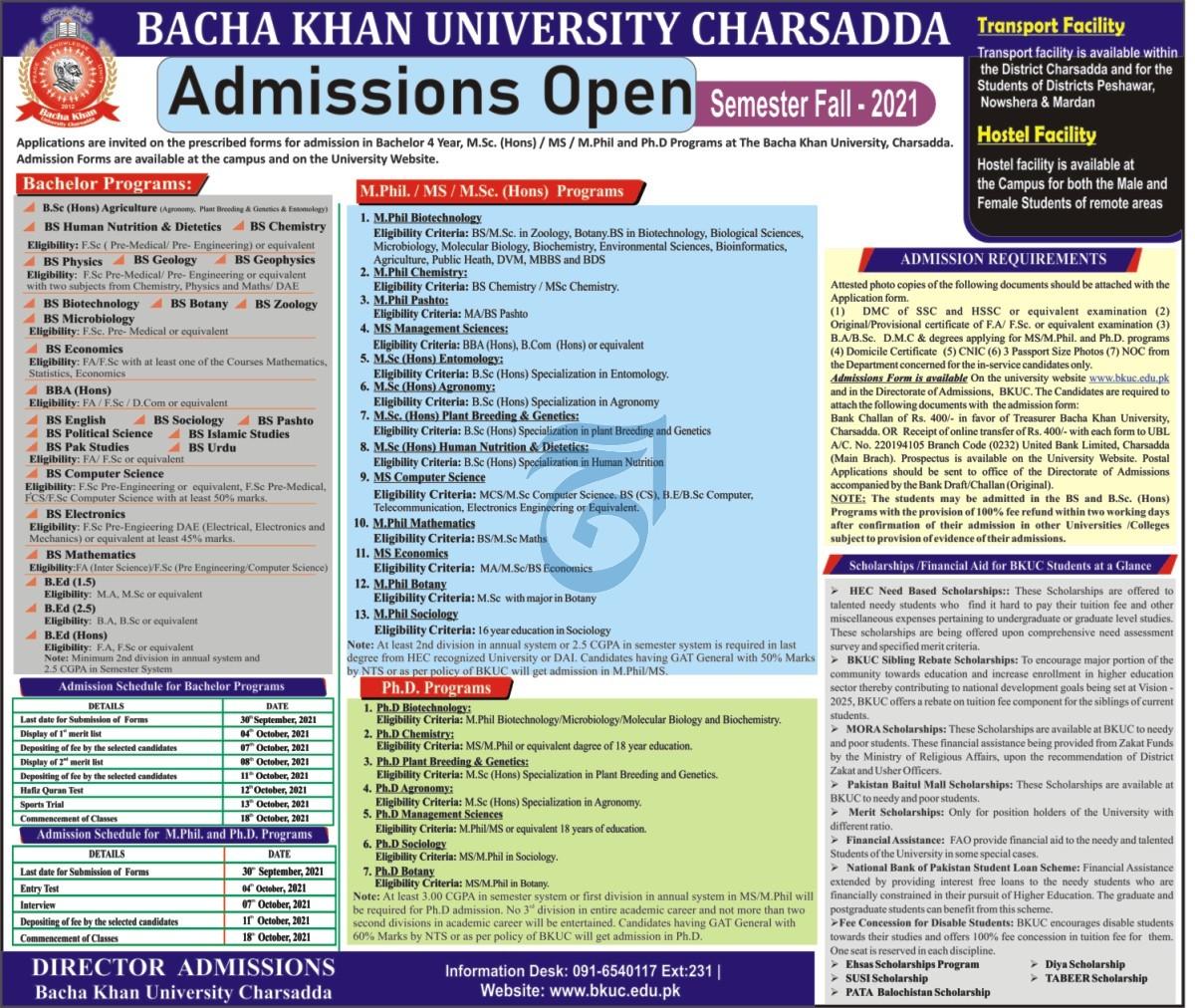 Bacha Khan University Charsadda BKUC Admission 2021