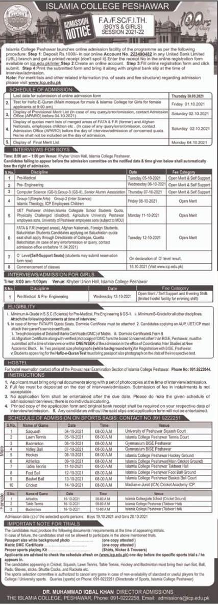 Islamia College Peshawar 1st Year Admission 2021, Form, Merit Lists