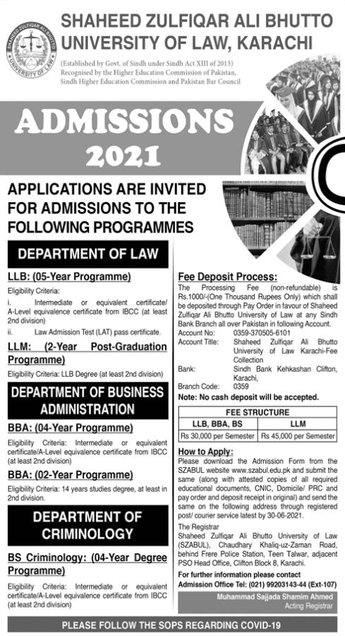 Shaheed Zulfiqar Ali Bhutto University of Law Karachi Admission 2021
