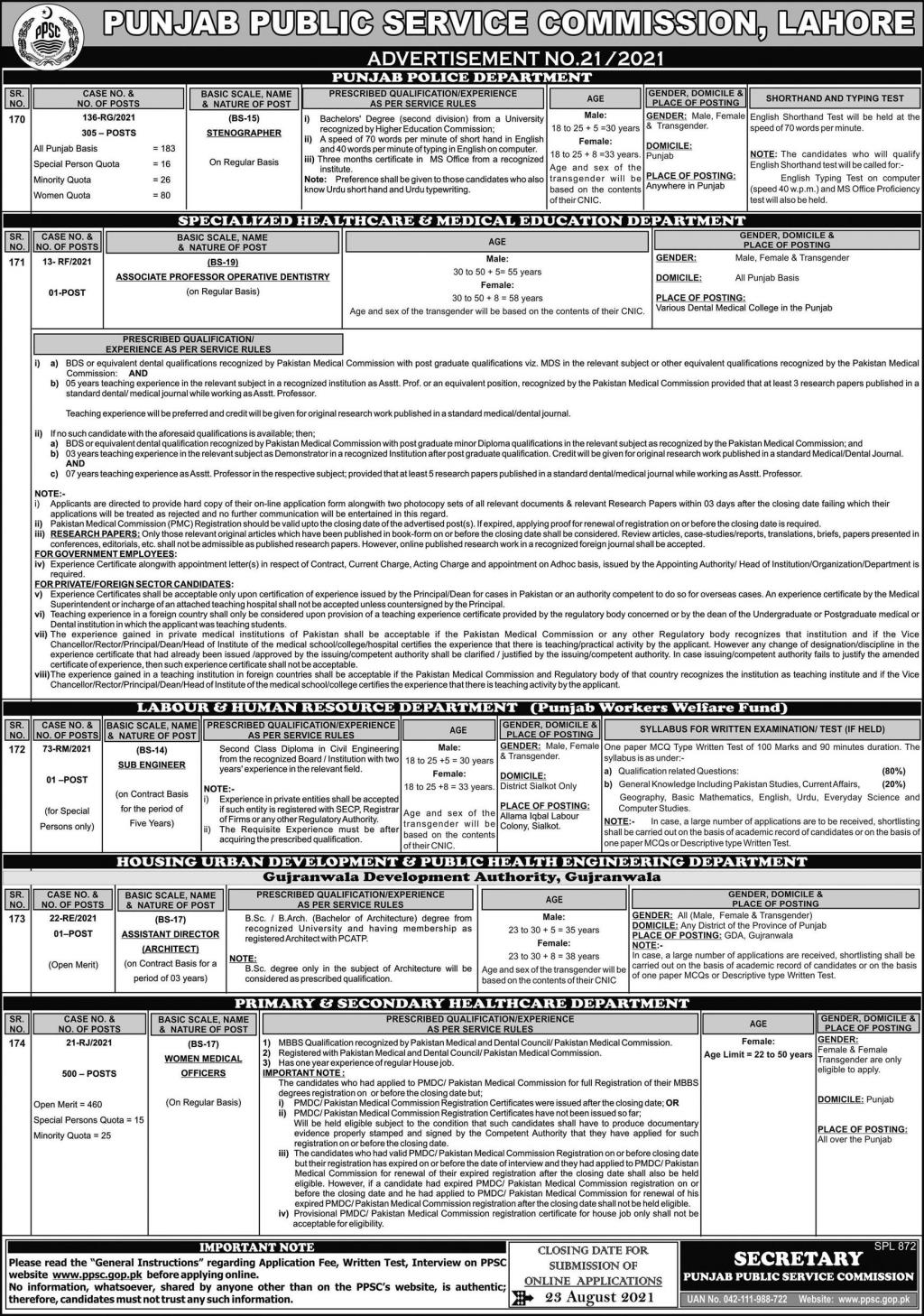 Punjab Police Stenographer Jobs 2021 by PPSC, Apply Online, Last Date
