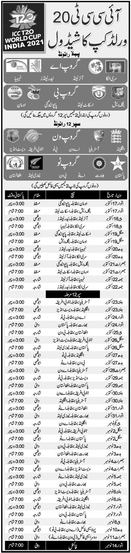 T 20 World Cup Cricket 2021 Schedule As Per Pakistan Time