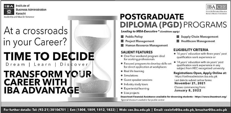 IBA Karachi Postgraduate Diploma (PGD) Programs Admission 2021
